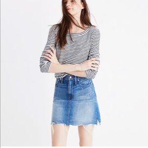 MADEWELL MCCAREN raw-edge denim skirt